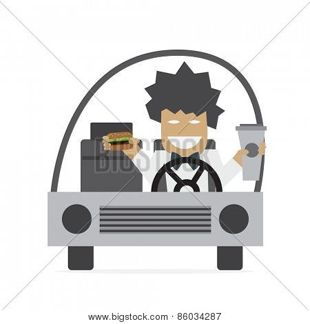 Man is driving and eating burger and drinking coffee Vector illustration