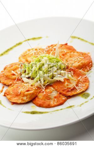 Meat Ravioli with Herbs and Tomato Sauce