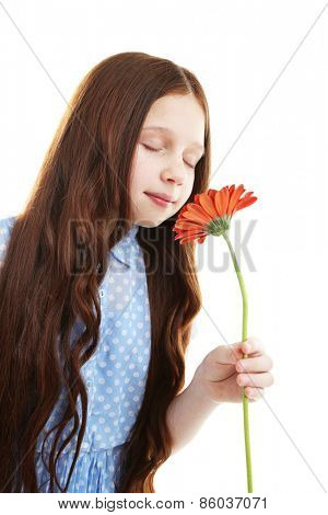 Beautiful little girl with flower, isolated on white