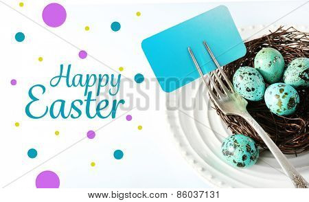 Easter table setting with card and Easter eggs, isolated on white