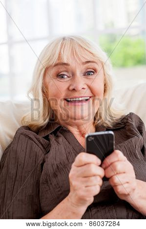 Senior Woman With Mobile Phone.