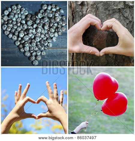 Collage of images with different hearts