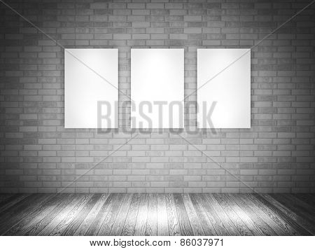 empty frame on 3d brick wall