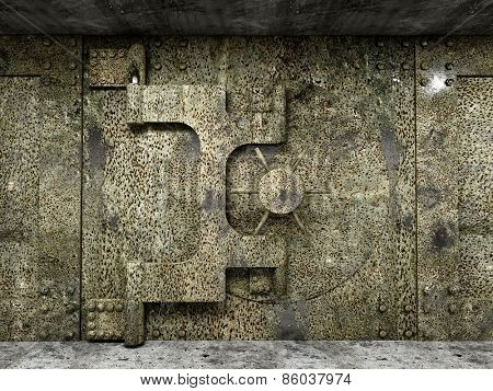3d image of huge rusty vault