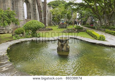 Exterior of the fountain at the ruins of the Santiago Apostol church in Cartago, Costa Rica.