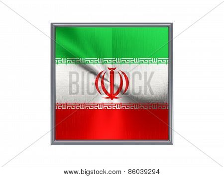 Square Metal Button With Flag Of Iran