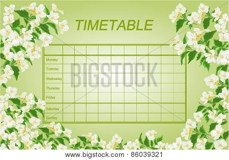 Timetable Weekly Schedule With Jasmine Vector