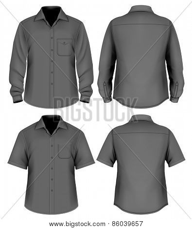 Men's button down shirt long and short sleeved. vector illustration.