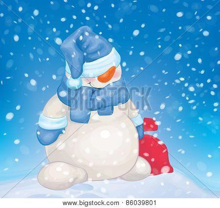 Vector snowman  cartoon on snowfall background.