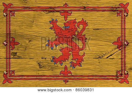 Royal Standard Of Scotland Flag Painted Old Oak Wood Fastened