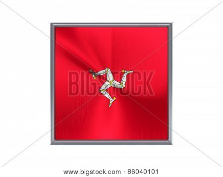 Square Metal Button With Flag Of Isle Of Man