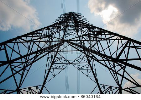 electricity pylon high voltage pole and sky