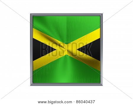 Square Metal Button With Flag Of Jamaica