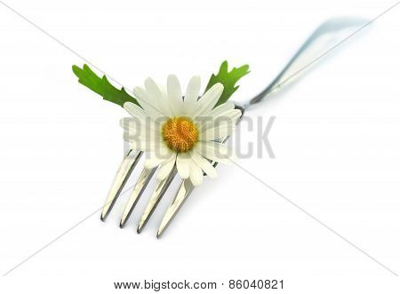 Fork with chamomile flower.