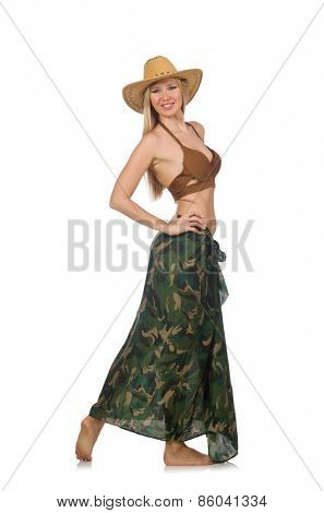 Woman wearing cowboy hat isolated on white