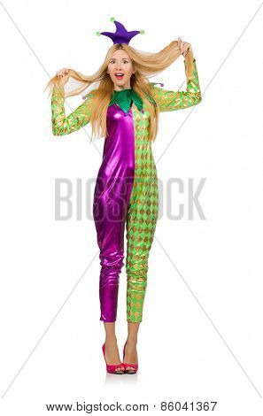 Woman wearing clown costume isolated on white