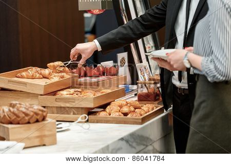 Tasty and sweet croissants at the buffet restaurant