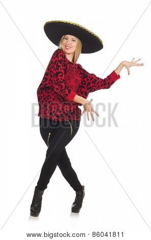 Funny mexican woman wearing sombrero isolated on white