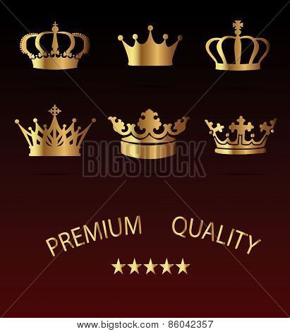 Crown Icons Set - Isolated On Black Background -  Illustration, Graphic Design, Editable For Your De