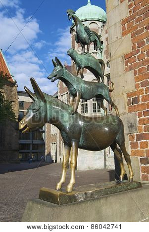 Exterior of the statue of the Town Musicians of Bremen in Bremen, Germany.