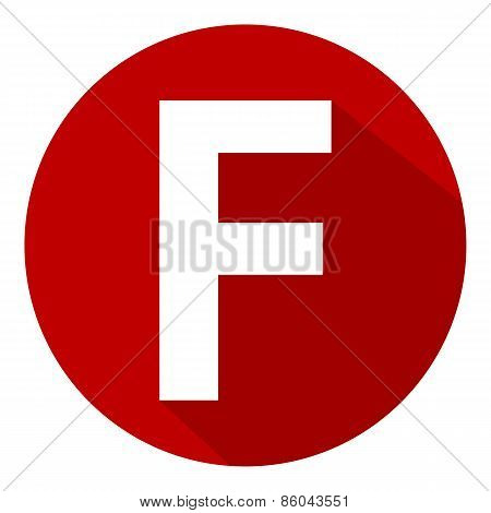 Letter F In Red Circle.