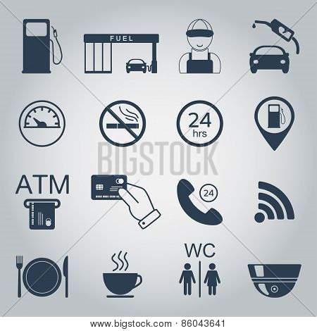 Gas Station Icons. Fuel Silhouette Icons. Monochrome. Vector