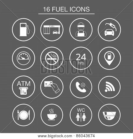 16 Gas Station Icons. Fuel Silhouette Icons. Vector