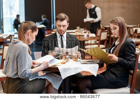 Business deals during lunch at the buffet restaurant