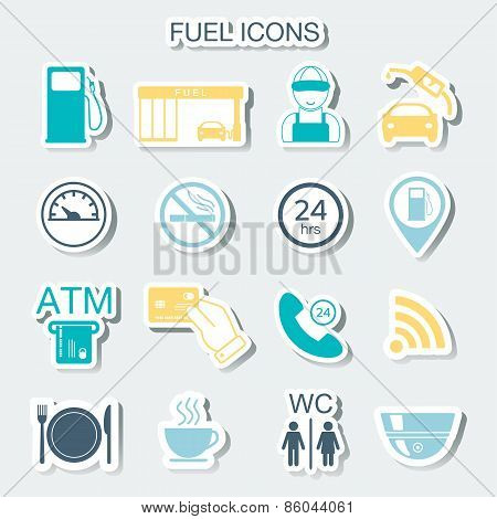 16 Gas Station Icons. Fuel Icons. Stickers. Vector