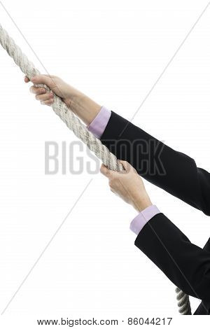 Business Woman Climbing Up Rope