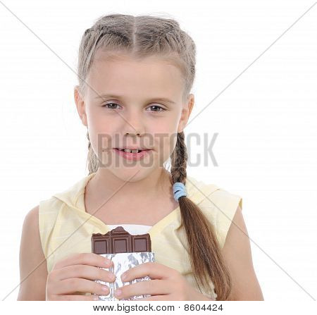 Girl Eating Chocolate.