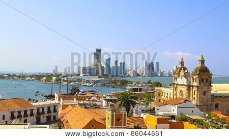 Historic center of Cartagena Colombia with the Caribbean Sea visible on two sides