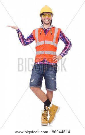 Young construction worker holding isolated on white