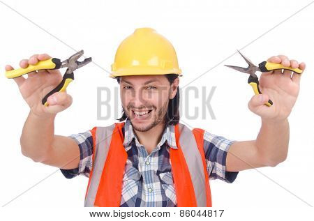 Handyman holds nippers isolated on white