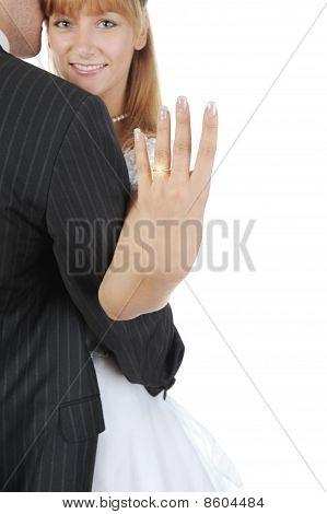 Bride Shows A Golden Ring
