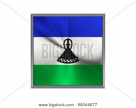 Square Metal Button With Flag Of Lesotho