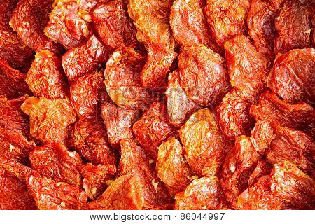 Background Texture Of Ripe Red Sundried Tomatoes
