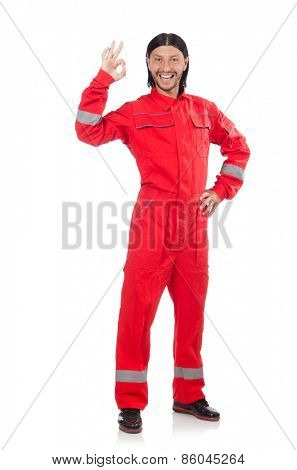 Technician in orange overall isolated on white
