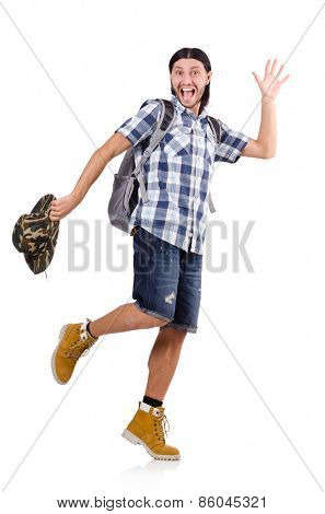 Young traveller with backpack isolated on white