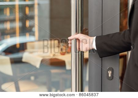 Open the door of hotel