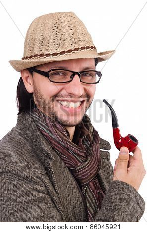 Young detective with pipe isolated on white