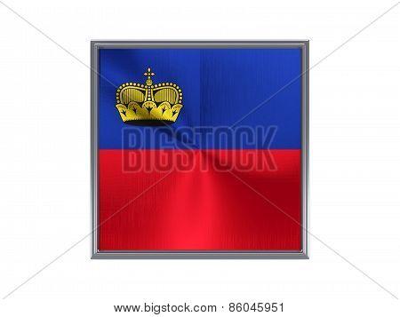 Square Metal Button With Flag Of Liechtenstein