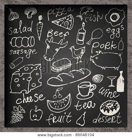 Set of hand-drawn food on chalkboard. Restaurant food menu design. Vector illustration.