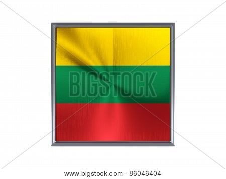 Square Metal Button With Flag Of Lithuania