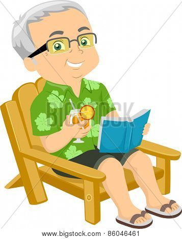 Illustration of a Senior Citizen Sitting on a Beach Chair While Reading a Book