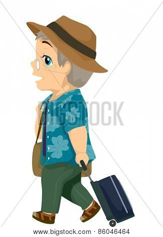 Illustration of a Male Senior Citizen Dragging a Suitcase