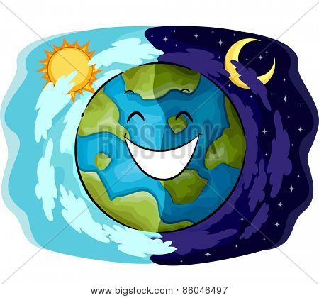 Mascot Illustration of a Happy Earth Showing the Contrast Between Day and Night