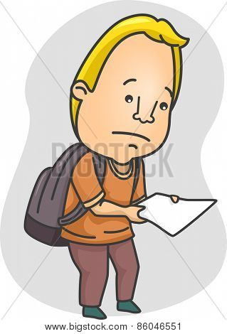 Illustration of a Man Looking Sad While Holding a Piece of Paper