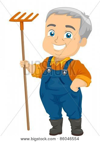 Illustration of a Senior Citizen Holding a Rake