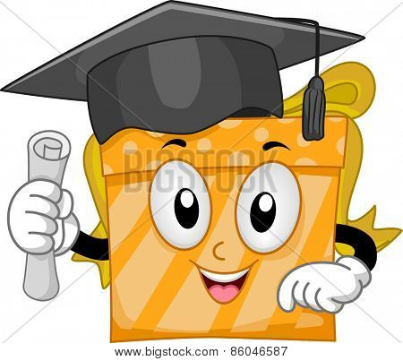 Mascot Illustration of a Gift Wearing a Graduation Cap and Holding a Diploma